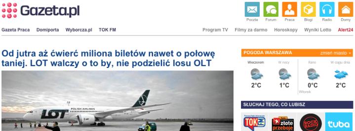 Zrzut ekranu przedstawia starą wygląd strony gazeta.pl